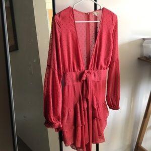 For Love and Lemons salmon mini dress